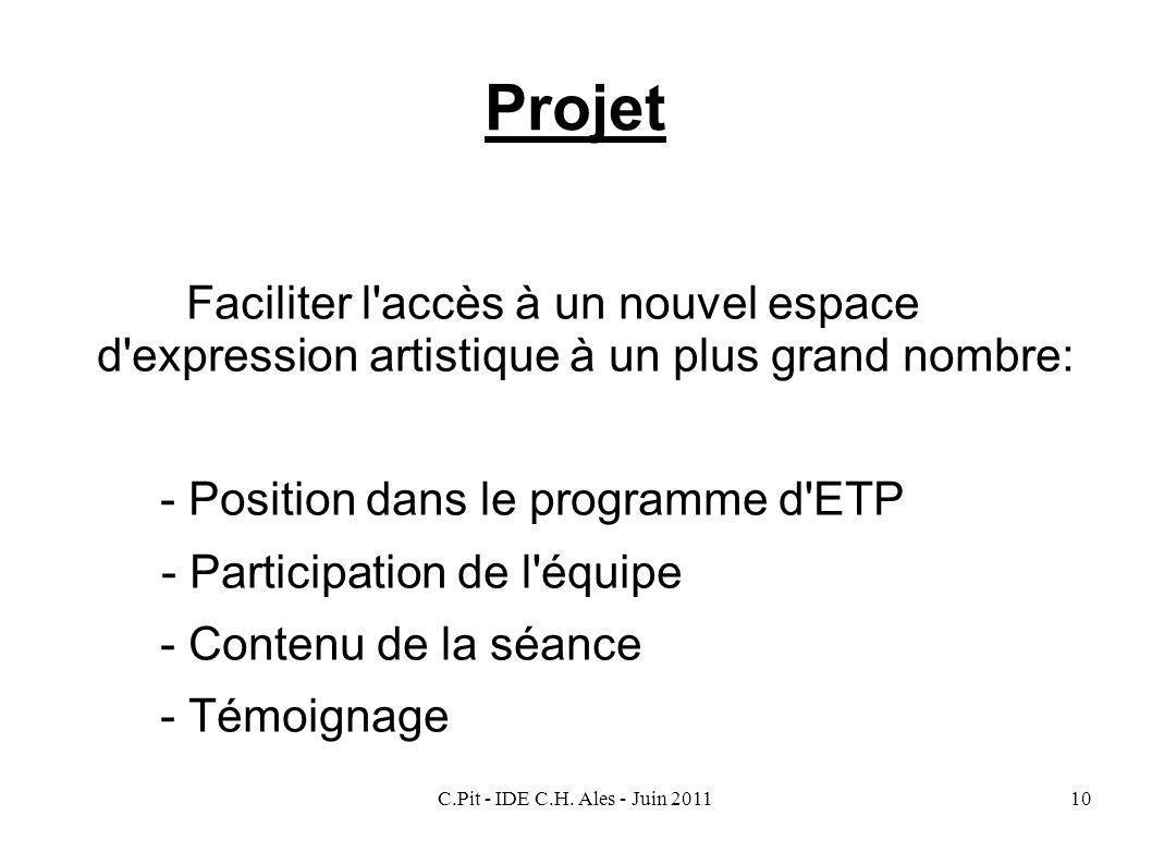 C.Pit - IDE C.H. Ales - Juin 201110 Projet Faciliter l'accès à un nouvel espace d'expression artistique à un plus grand nombre: - Position dans le pro