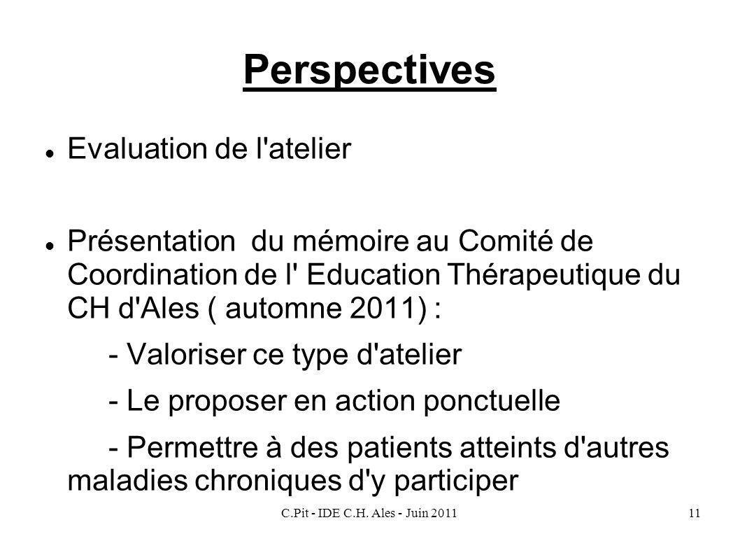 C.Pit - IDE C.H. Ales - Juin 201111 Perspectives Evaluation de l'atelier Présentation du mémoire au Comité de Coordination de l' Education Thérapeutiq