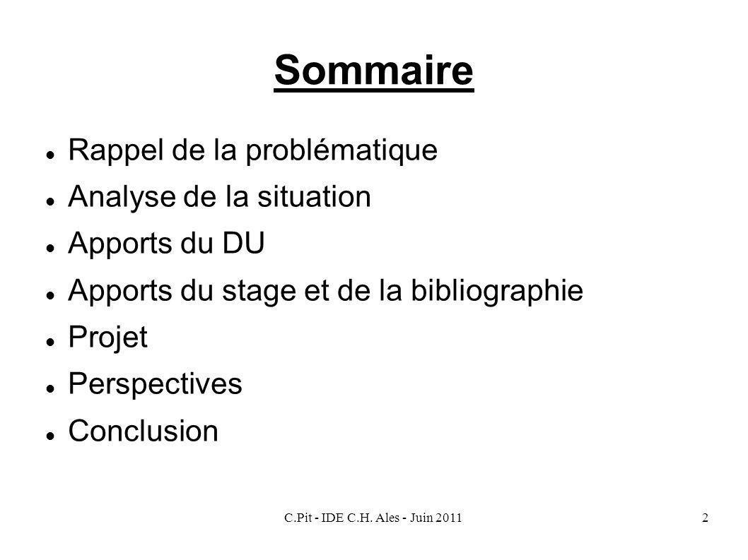 C.Pit - IDE C.H. Ales - Juin 20112 Sommaire Rappel de la problématique Analyse de la situation Apports du DU Apports du stage et de la bibliographie P