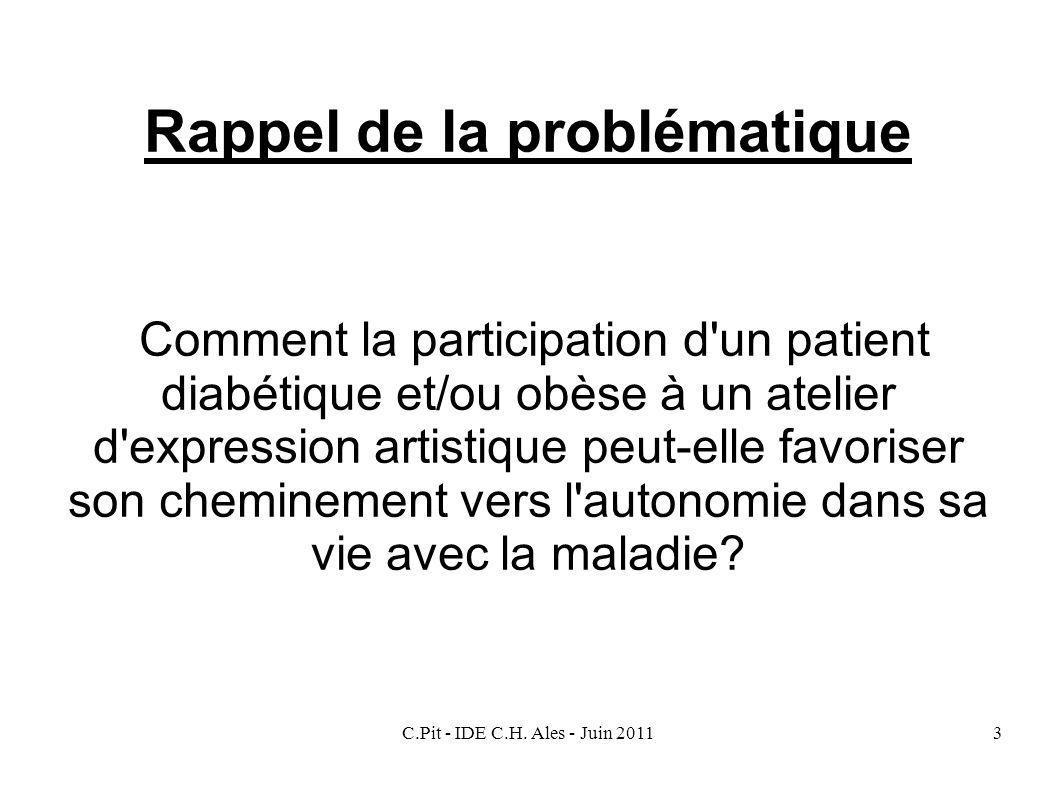 C.Pit - IDE C.H. Ales - Juin 20113 Rappel de la problématique Comment la participation d'un patient diabétique et/ou obèse à un atelier d'expression a