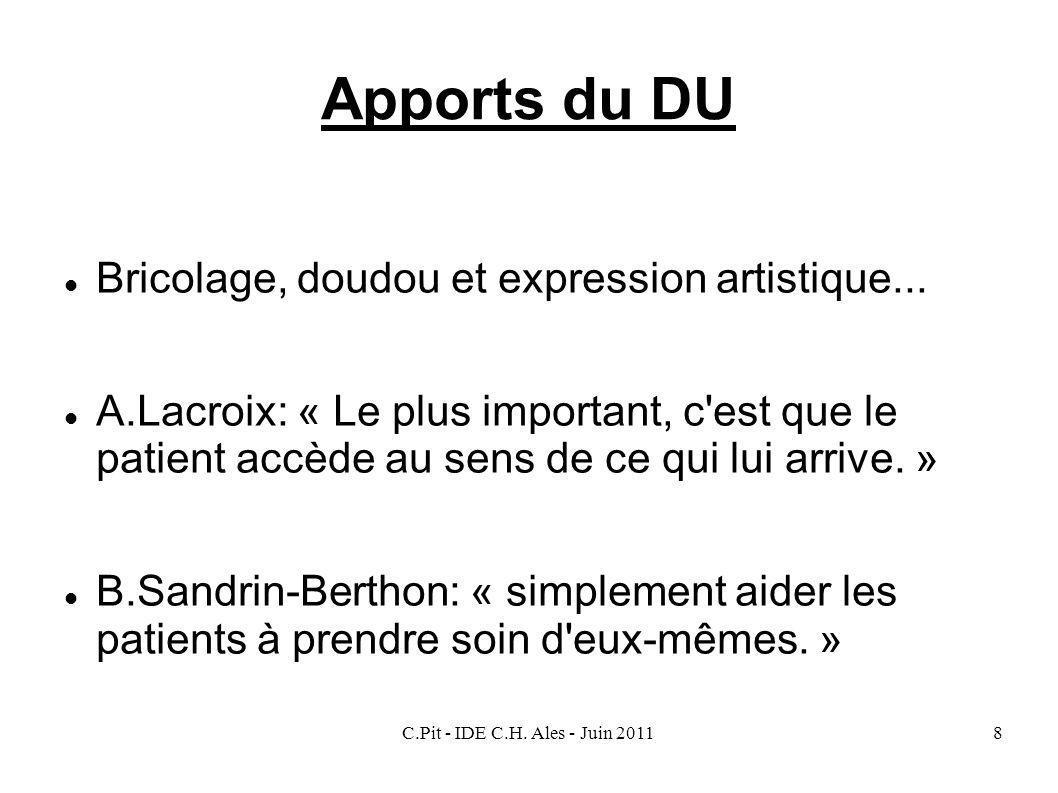 C.Pit - IDE C.H. Ales - Juin 20118 Apports du DU Bricolage, doudou et expression artistique... A.Lacroix: « Le plus important, c'est que le patient ac