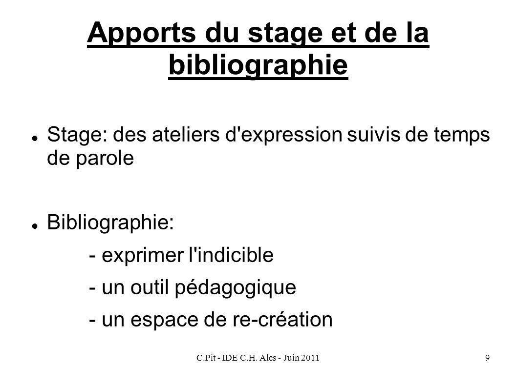 C.Pit - IDE C.H. Ales - Juin 20119 Apports du stage et de la bibliographie Stage: des ateliers d'expression suivis de temps de parole Bibliographie: -