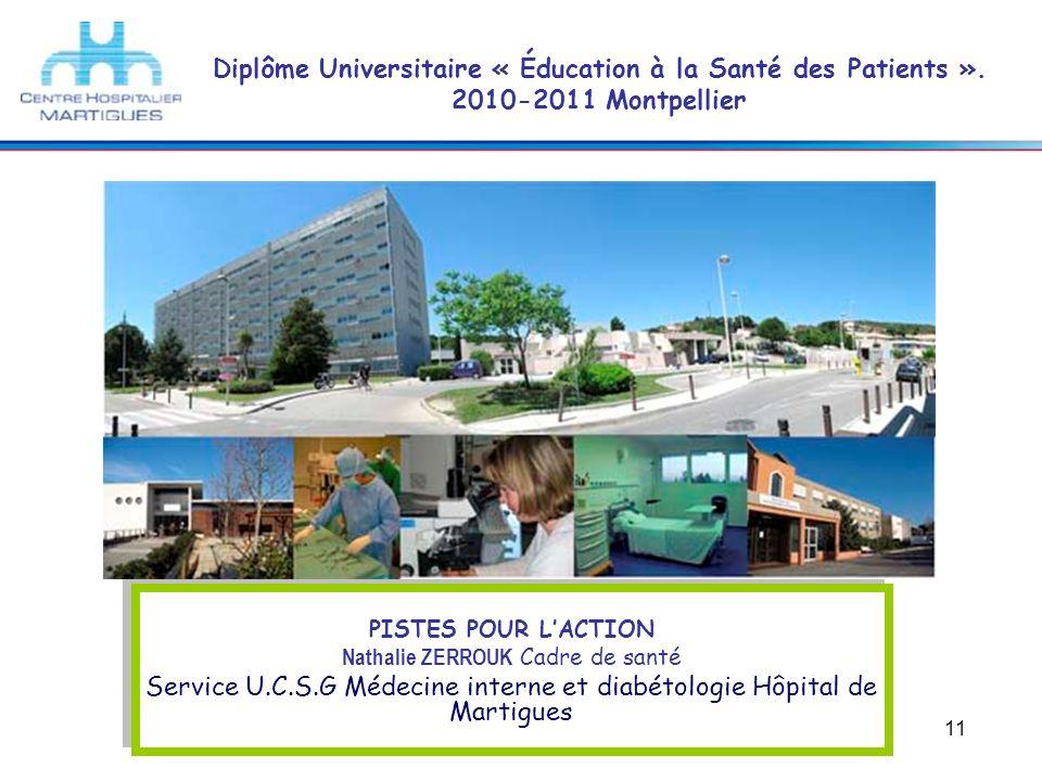 11 Diplôme Universitaire « Éducation à la Santé des Patients ». 2010-2011 Montpellier PISTES POUR LACTION Nathalie ZERROUK Cadre de santé Service U.C.