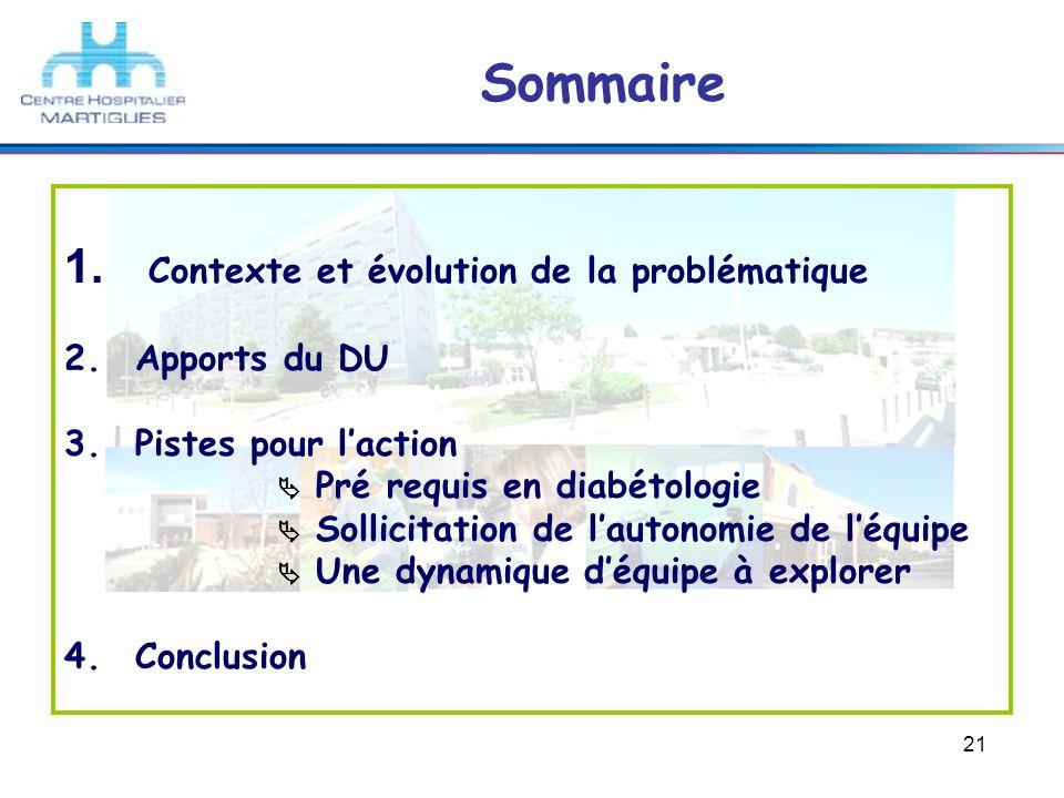 21 Sommaire 1. Contexte et évolution de la problématique 2.Apports du DU 3.Pistes pour laction Pré requis en diabétologie Sollicitation de lautonomie