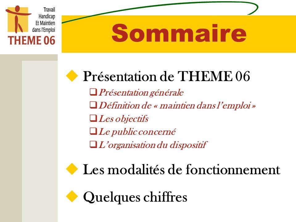 Sommaire Présentation de THEME 06 Présentation générale Définition de « maintien dans lemploi » Les objectifs Le public concerné Lorganisation du disp