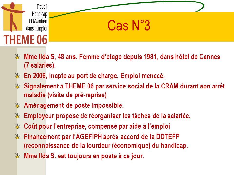 Cas N°3 Mme Ilda S, 48 ans. Femme détage depuis 1981, dans hôtel de Cannes (7 salariés). En 2006, inapte au port de charge. Emploi menacé. Signalement