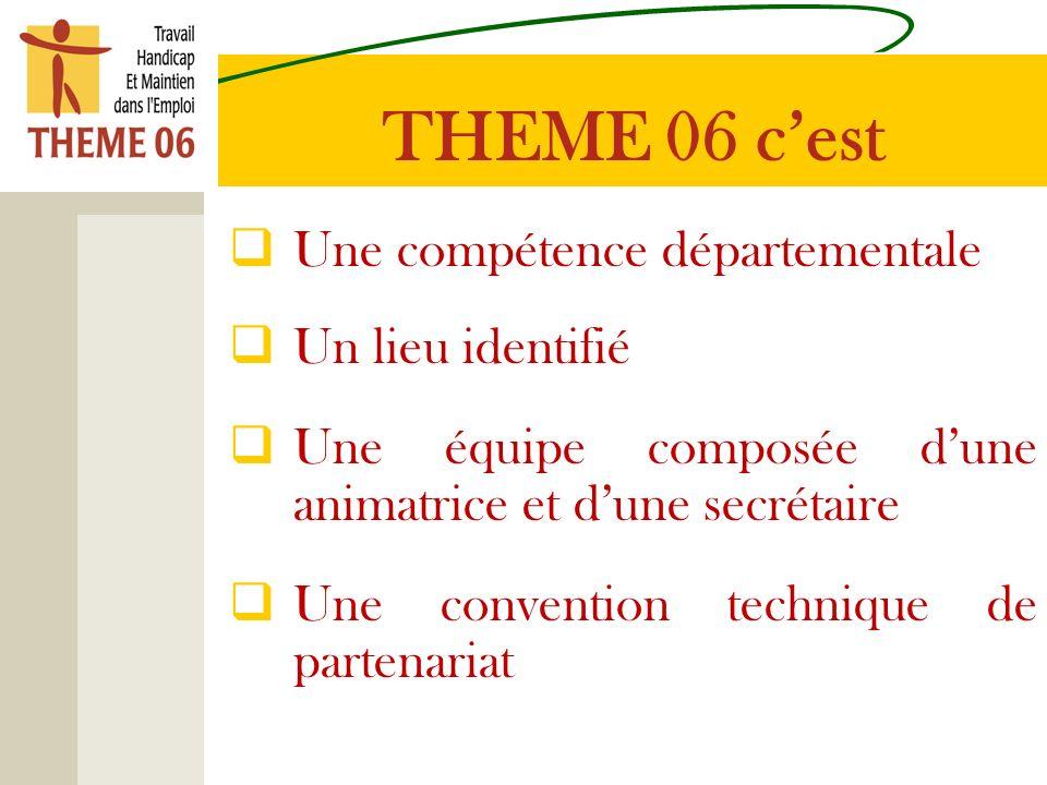 Une compétence départementale Un lieu identifié Une équipe composée dune animatrice et dune secrétaire Une convention technique de partenariat THEME 06 cest
