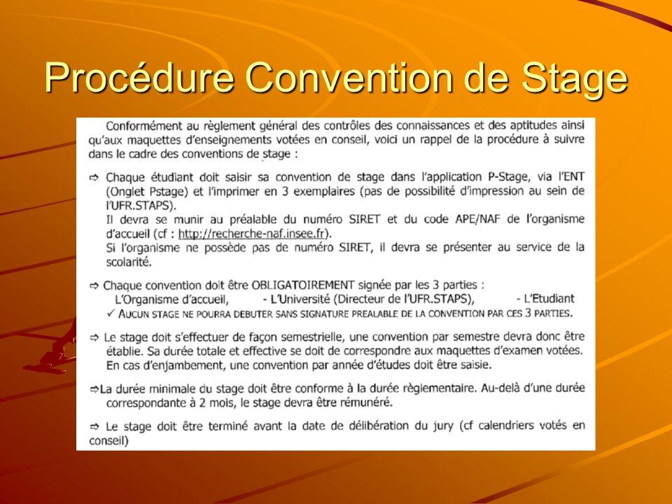 Procédure Convention de Stage