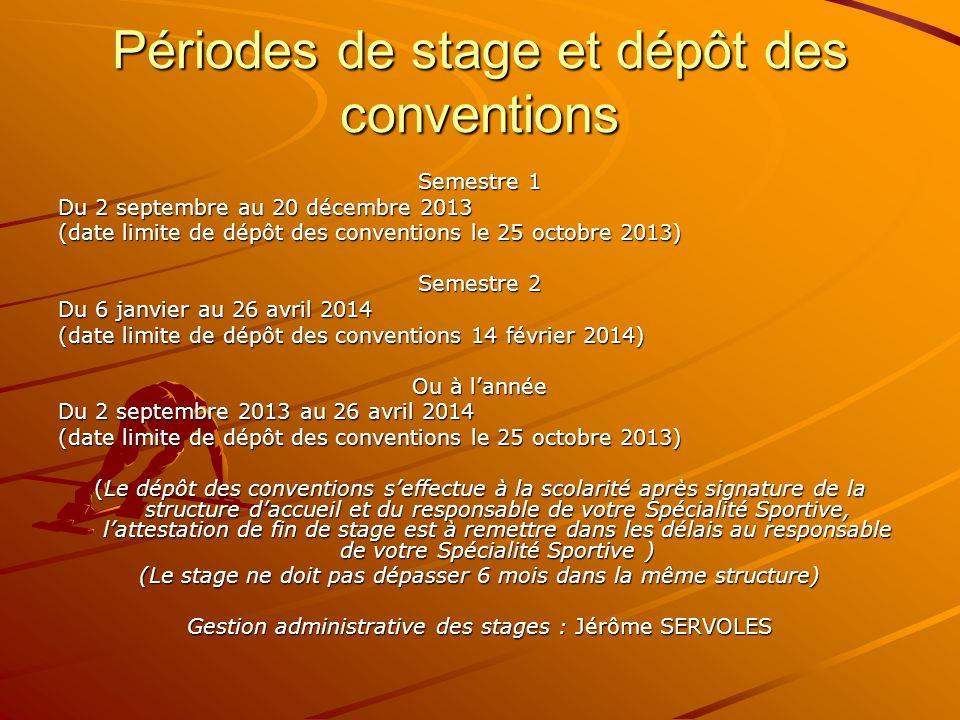 Périodes de stage et dépôt des conventions Semestre 1 Du 2 septembre au 20 décembre 2013 (date limite de dépôt des conventions le 25 octobre 2013) Sem