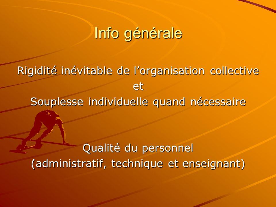Info générale Rigidité inévitable de lorganisation collective et Souplesse individuelle quand nécessaire Qualité du personnel (administratif, techniqu