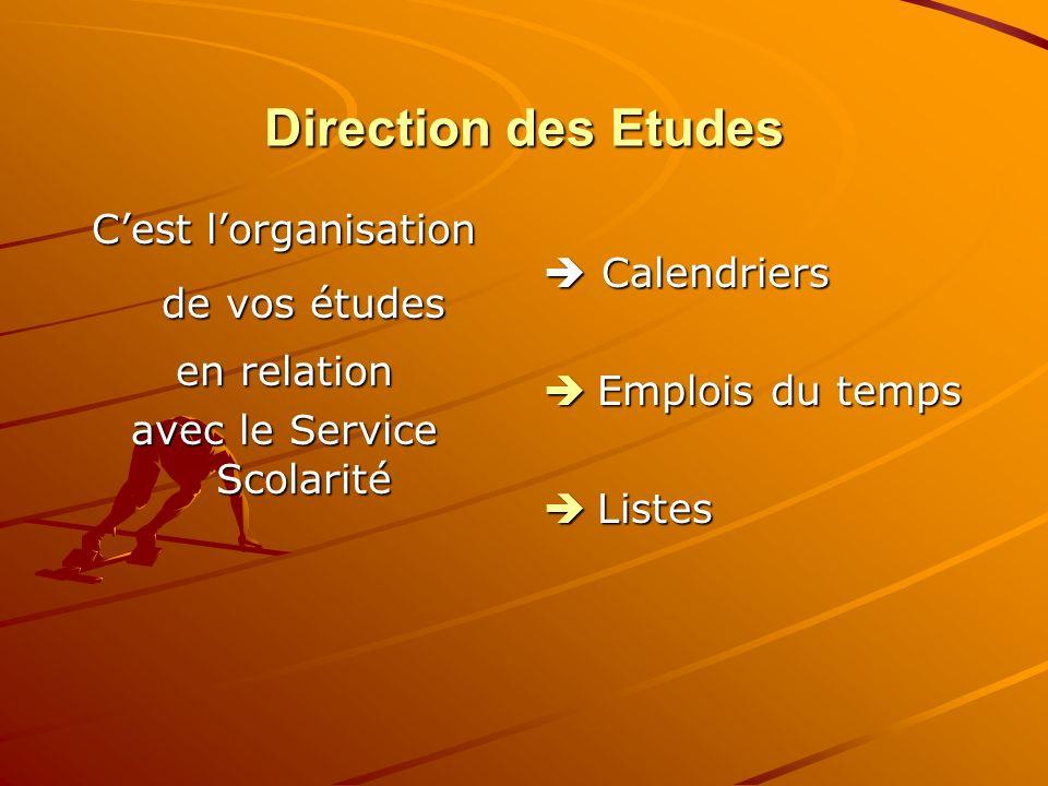 Direction des Etudes Cest lorganisation de vos études en relation avec le Service Scolarité Calendriers Calendriers Emplois du temps Emplois du temps