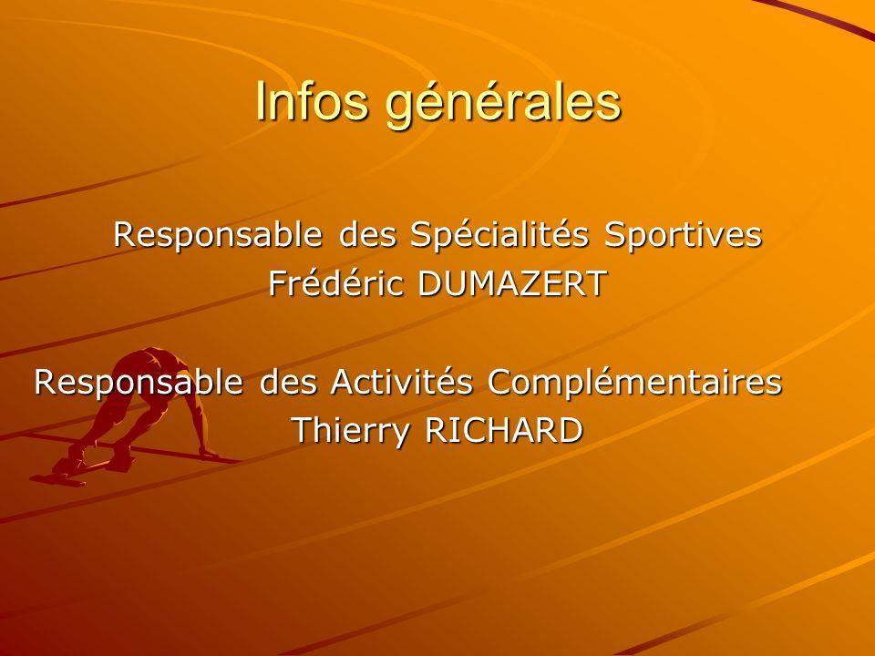 Infos générales Responsable des Spécialités Sportives Frédéric DUMAZERT Responsable des Activités Complémentaires Thierry RICHARD