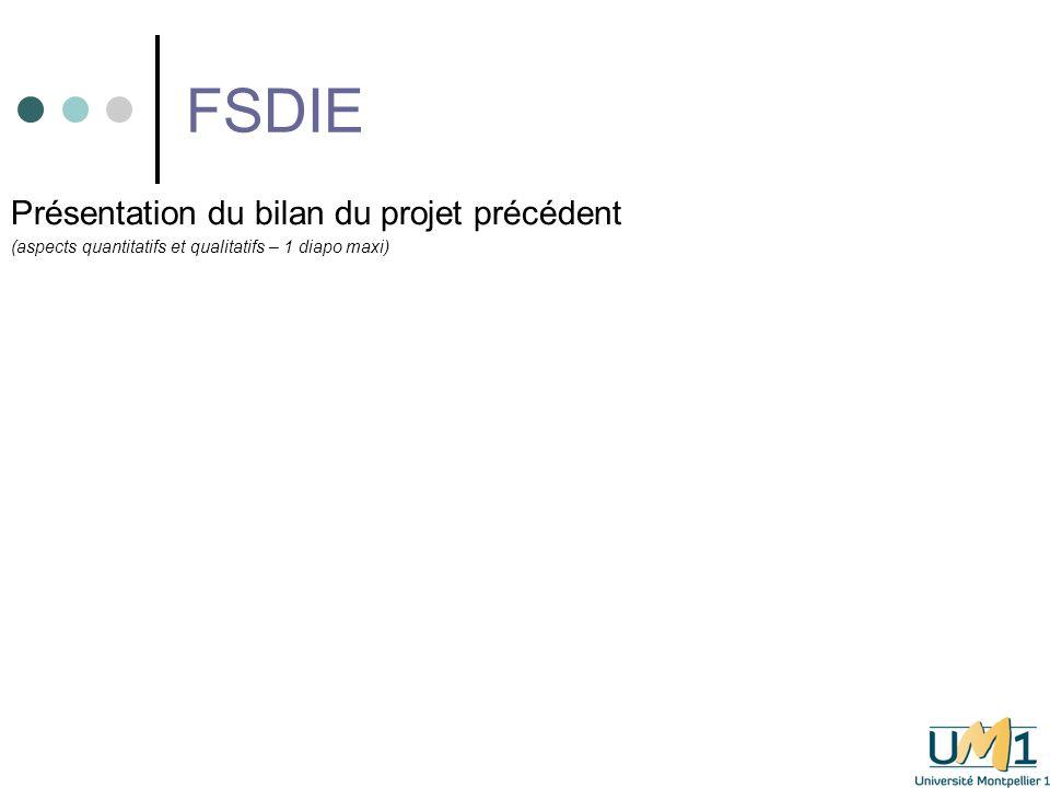 FSDIE Présentation du bilan du projet précédent (aspects quantitatifs et qualitatifs – 1 diapo maxi)
