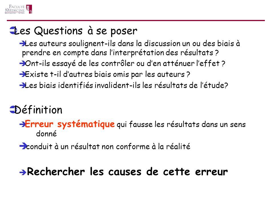 Les Questions à se poser Les auteurs soulignent-ils dans la discussion un ou des biais à prendre en compte dans linterprétation des résultats ? Ont-il