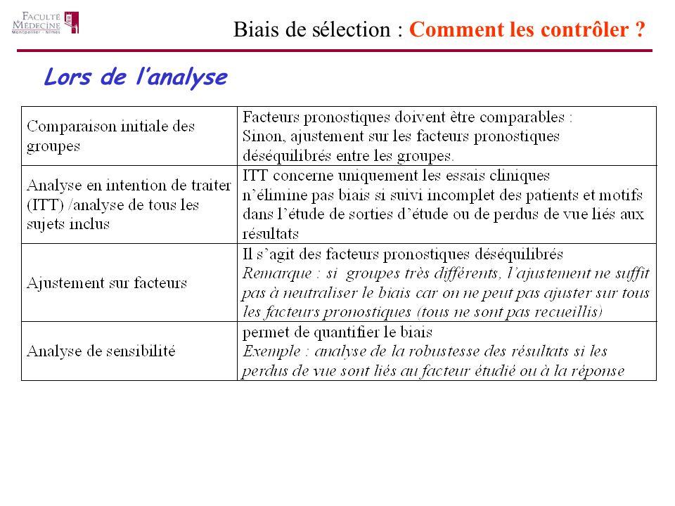 Lors de lanalyse Biais de sélection : Comment les contrôler ?