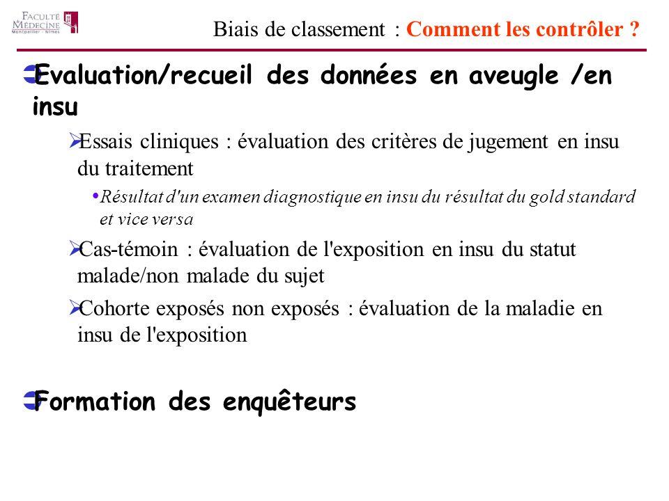 Evaluation/recueil des données en aveugle /en insu Essais cliniques : évaluation des critères de jugement en insu du traitement Résultat d'un examen d