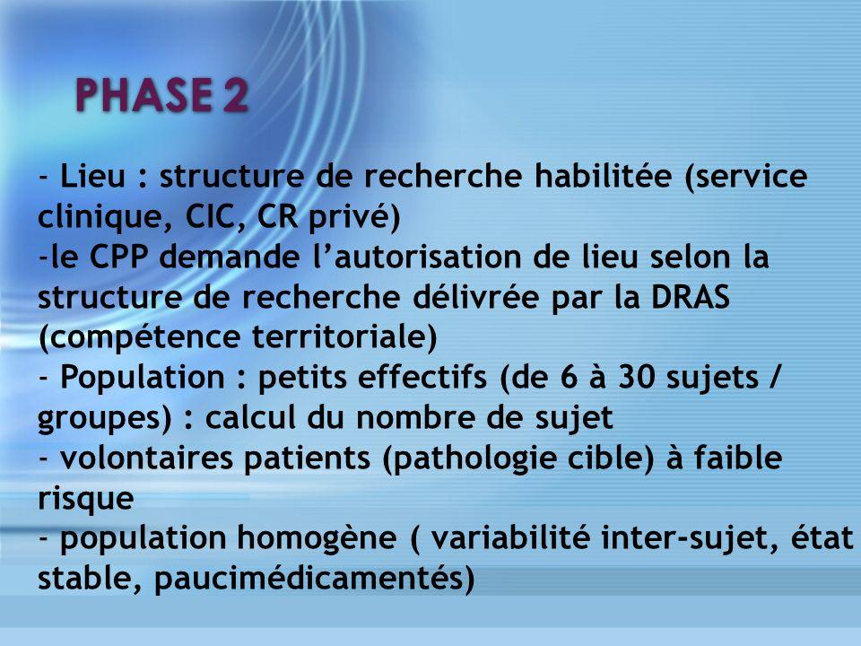 PHASE 2 - Lieu : structure de recherche habilitée (service clinique, CIC, CR privé) -le CPP demande lautorisation de lieu selon la structure de recher