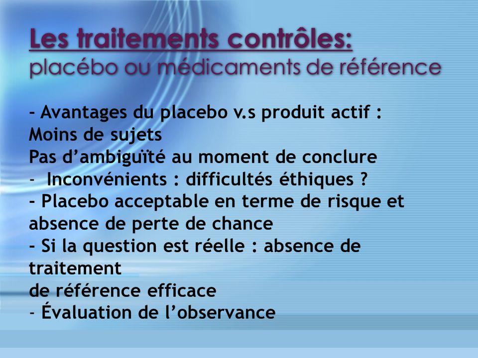 Les traitements contrôles: placébo ou médicaments de référence - Avantages du placebo v.s produit actif : Moins de sujets Pas dambiguïté au moment de