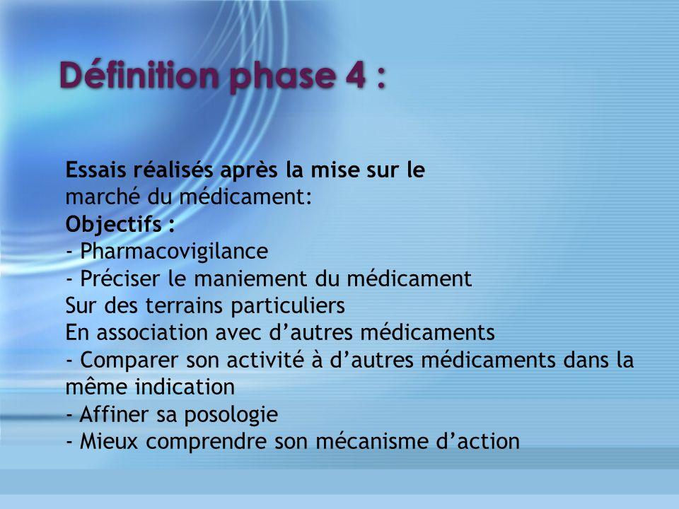 Définition phase 4 : Essais réalisés après la mise sur le marché du médicament: Objectifs : - Pharmacovigilance - Préciser le maniement du médicament