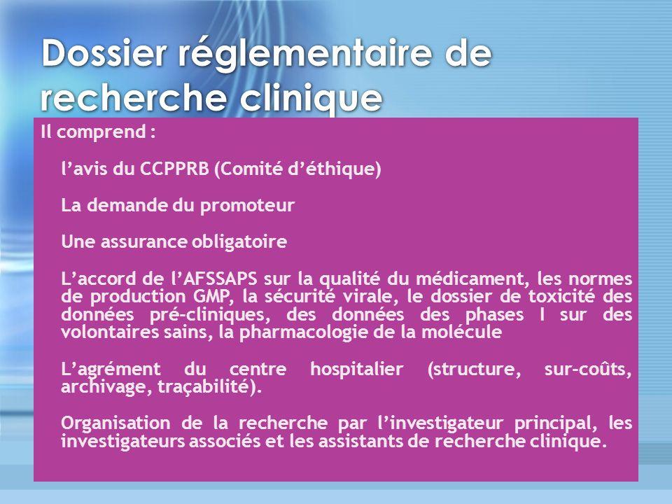 Dossier réglementaire de recherche clinique Il comprend : lavis du CCPPRB (Comité déthique) La demande du promoteur Une assurance obligatoire Laccord