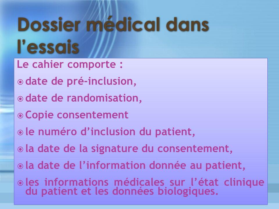 Dossier médical dans lessais Le cahier comporte : date de pré-inclusion, date de randomisation, Copie consentement le numéro dinclusion du patient, la