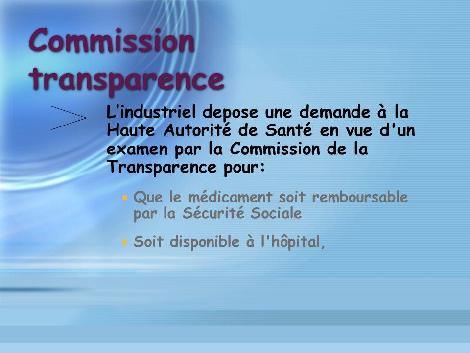 Commission transparence Lindustriel depose une demande à la Haute Autorité de Santé en vue d'un examen par la Commission de la Transparence pour: Que
