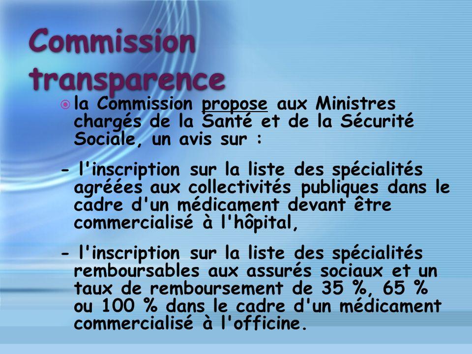 Commission transparence la Commission propose aux Ministres chargés de la Santé et de la Sécurité Sociale, un avis sur : - l'inscription sur la liste