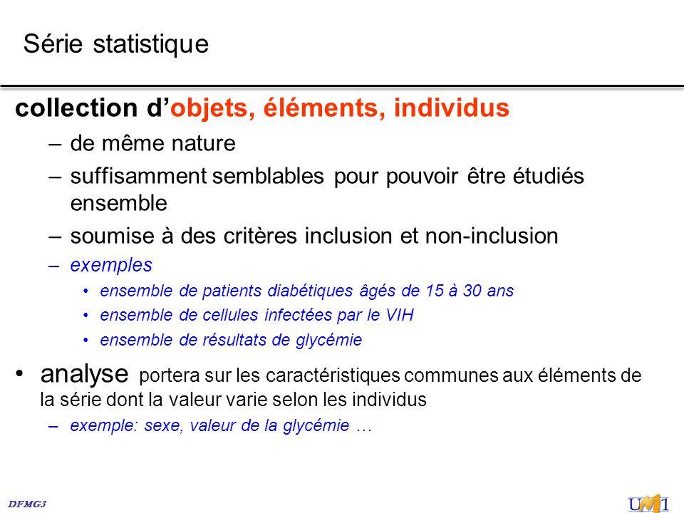 DFMG3 Série statistique collection dobjets, éléments, individus –de même nature –suffisamment semblables pour pouvoir être étudiés ensemble –soumise à