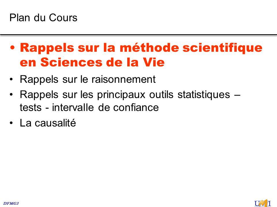 DFMG3 Plan du Cours Rappels sur la méthode scientifique en Sciences de la Vie Rappels sur le raisonnement Rappels sur les principaux outils statistiqu