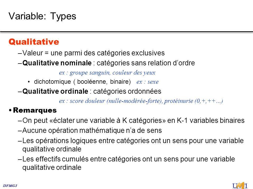 DFMG3 Variable: Types Qualitative –Valeur = une parmi des catégories exclusives –Qualitative nominale : catégories sans relation dordre ex : groupe sa