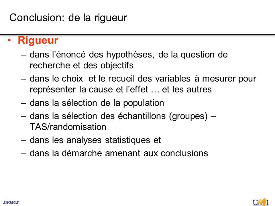 DFMG3 Conclusion: de la rigueur Rigueur –dans lénoncé des hypothèses, de la question de recherche et des objectifs –dans le choix et le recueil des va