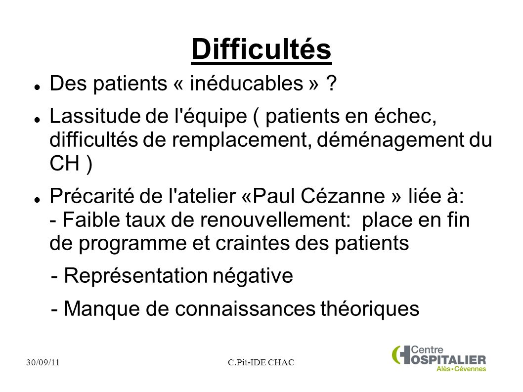 30/09/11C.Pit-IDE CHAC Difficultés Des patients « inéducables » .