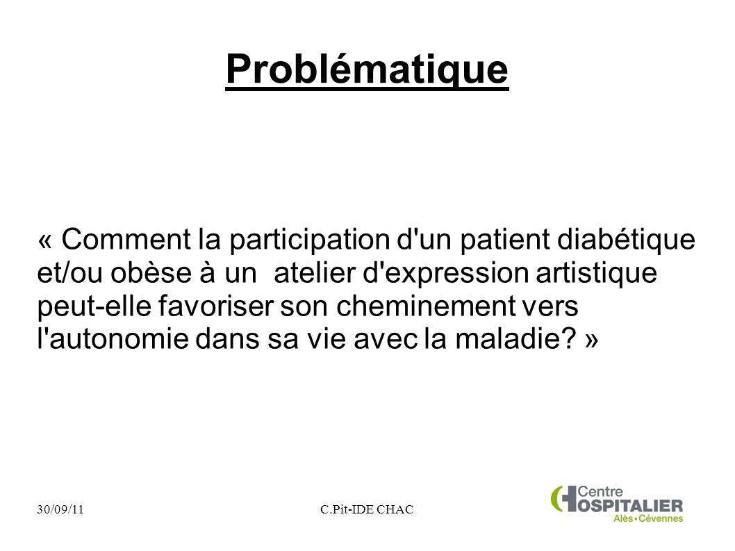 30/09/11C.Pit-IDE CHAC Problématique « Comment la participation d'un patient diabétique et/ou obèse à un atelier d'expression artistique peut-elle fav