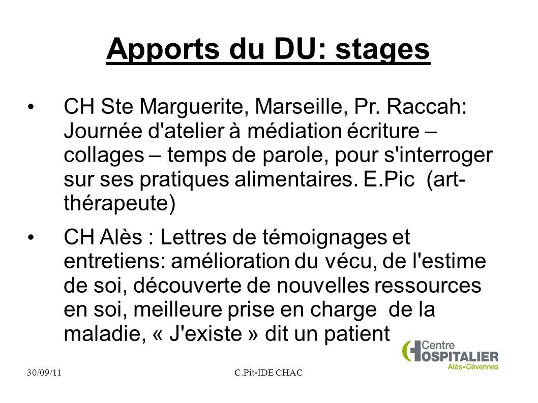 30/09/11C.Pit-IDE CHAC Apports du DU: stages CH Ste Marguerite, Marseille, Pr. Raccah: Journée d'atelier à médiation écriture – collages – temps de pa