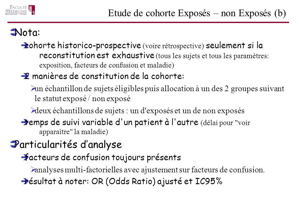 Nota: cohorte historico-prospective (voire rétrospective) seulement si la reconstitution est exhaustive (tous les sujets et tous les paramètres: expos
