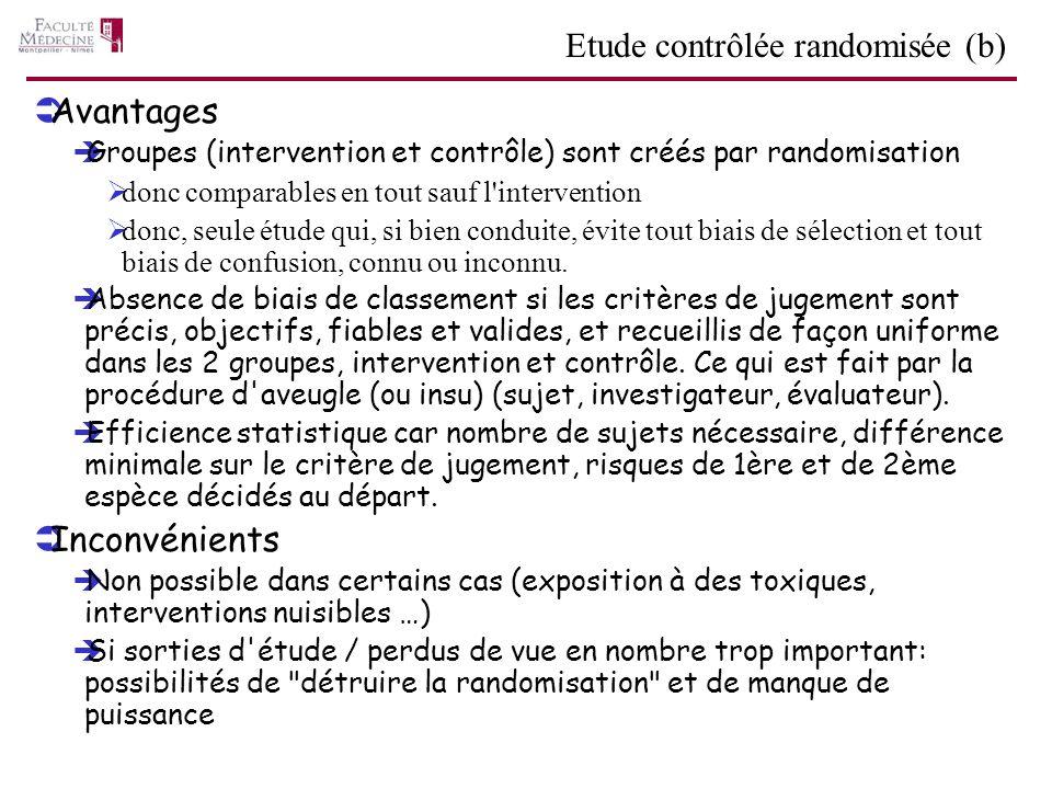 Avantages Groupes (intervention et contrôle) sont créés par randomisation donc comparables en tout sauf l'intervention donc, seule étude qui, si bien