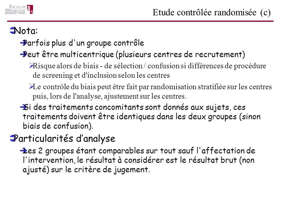 Nota: Parfois plus d'un groupe contrôle Peut être multicentrique (plusieurs centres de recrutement) Risque alors de biais - de sélection / confusion s