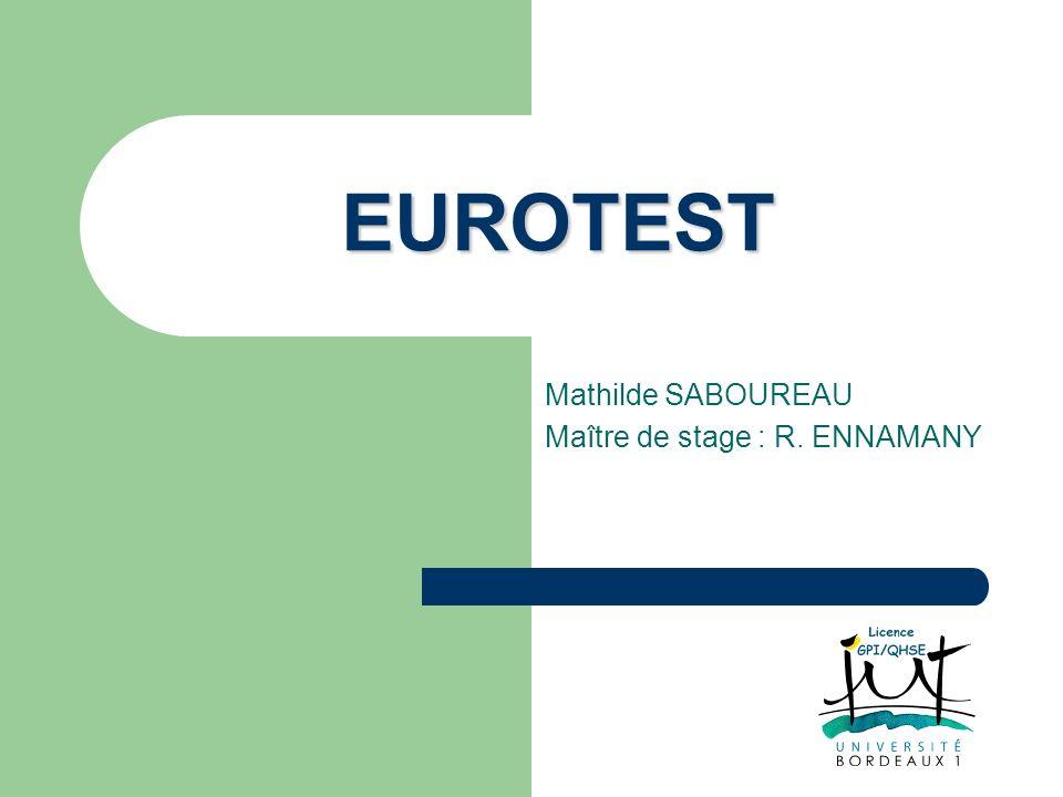 EUROTEST Mathilde SABOUREAU Maître de stage : R. ENNAMANY