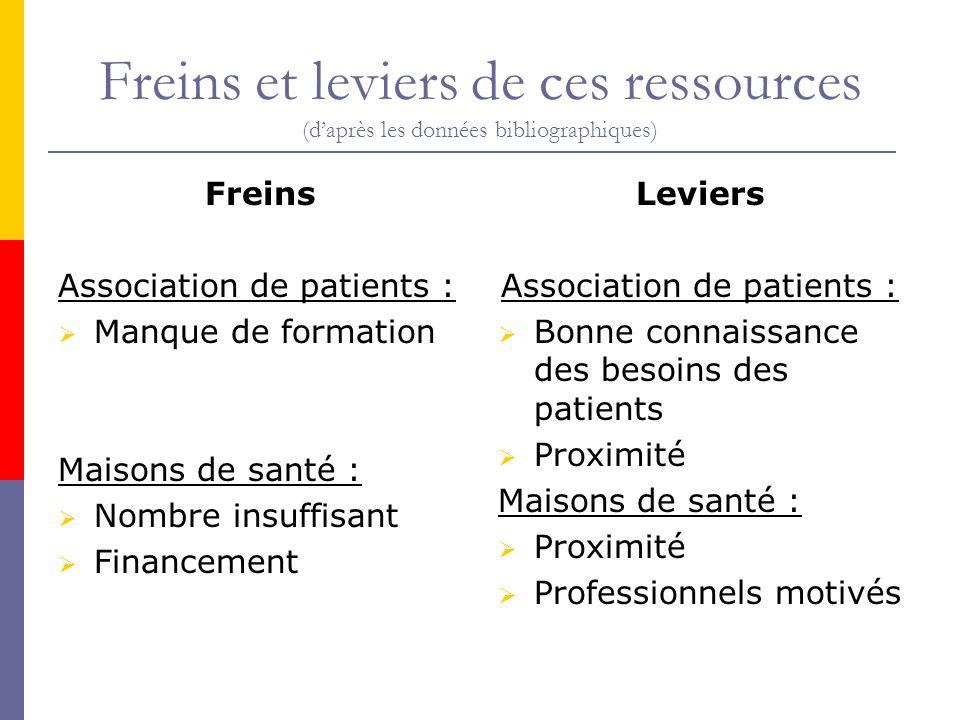 Freins et leviers de ces ressources (daprès les données bibliographiques) Freins Association de patients : Manque de formation Maisons de santé : Nomb