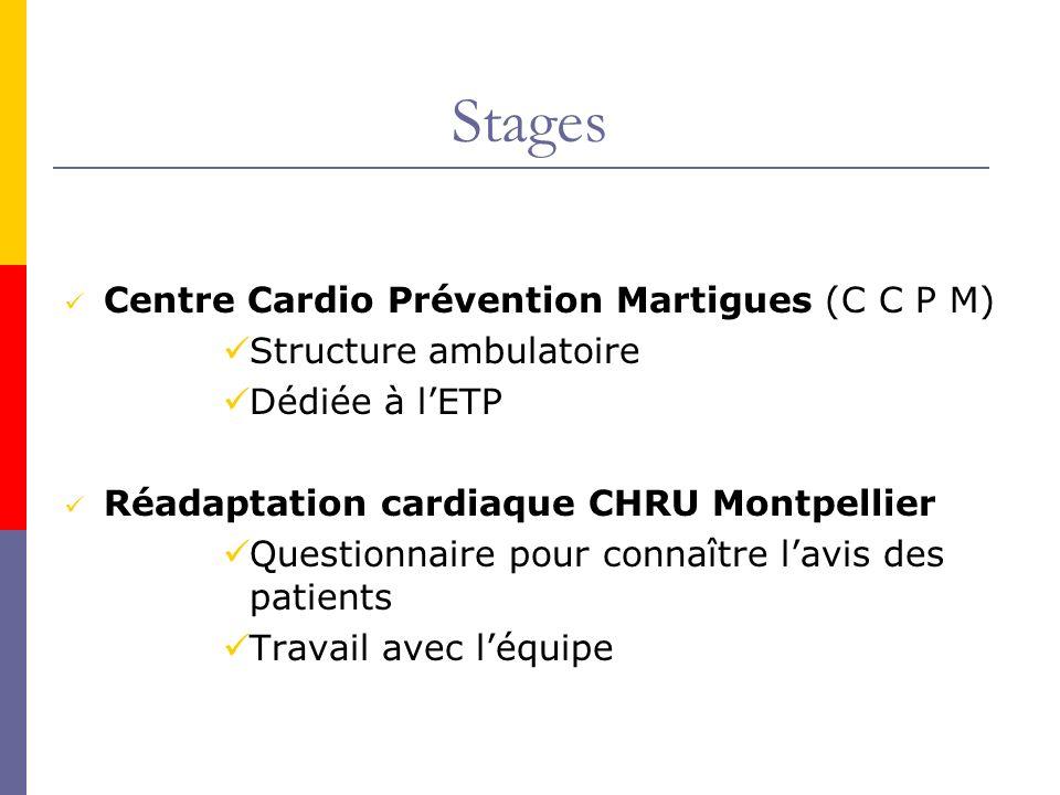 Stages Centre Cardio Prévention Martigues (C C P M) Structure ambulatoire Dédiée à lETP Réadaptation cardiaque CHRU Montpellier Questionnaire pour con
