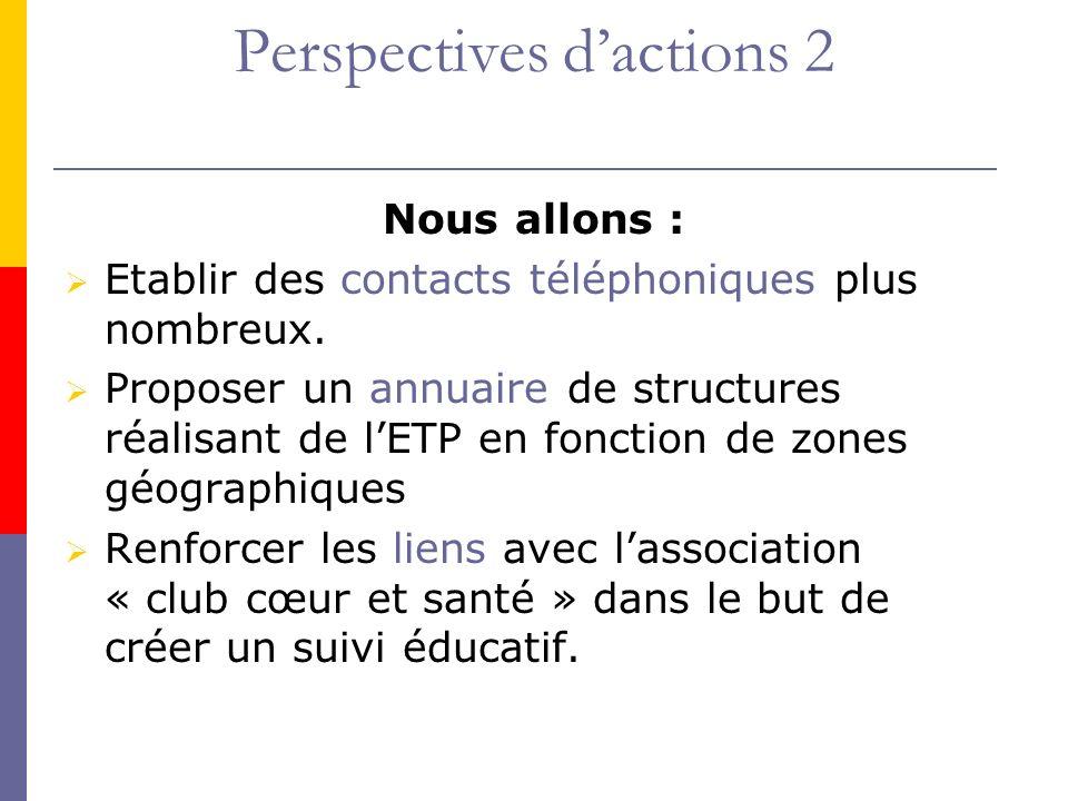Perspectives dactions 2 Nous allons : Etablir des contacts téléphoniques plus nombreux. Proposer un annuaire de structures réalisant de lETP en foncti