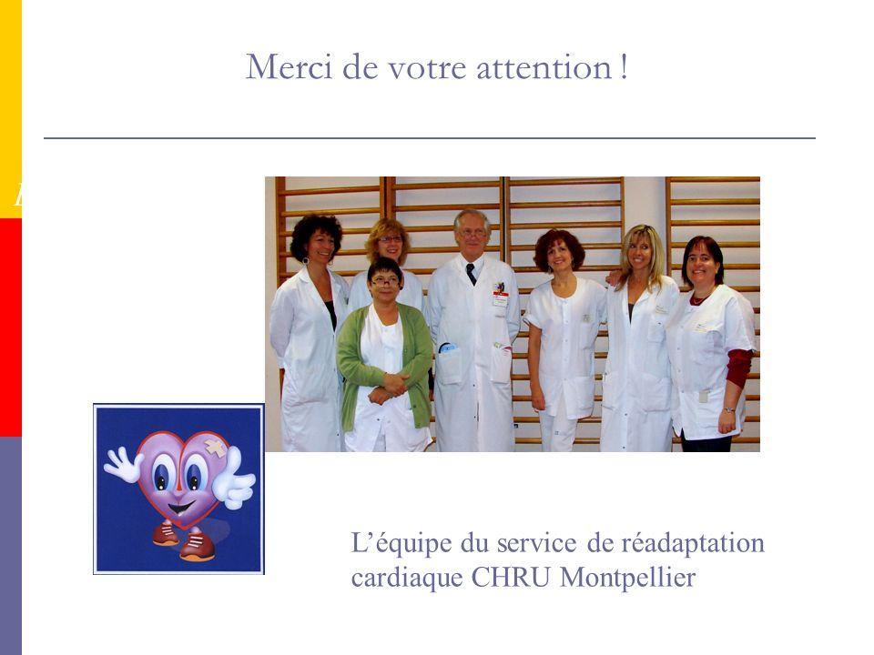 Merci de votre attention ! Bienvenue en Réadaptation Cardiaque ! Léquipe du service de réadaptation cardiaque CHRU Montpellier