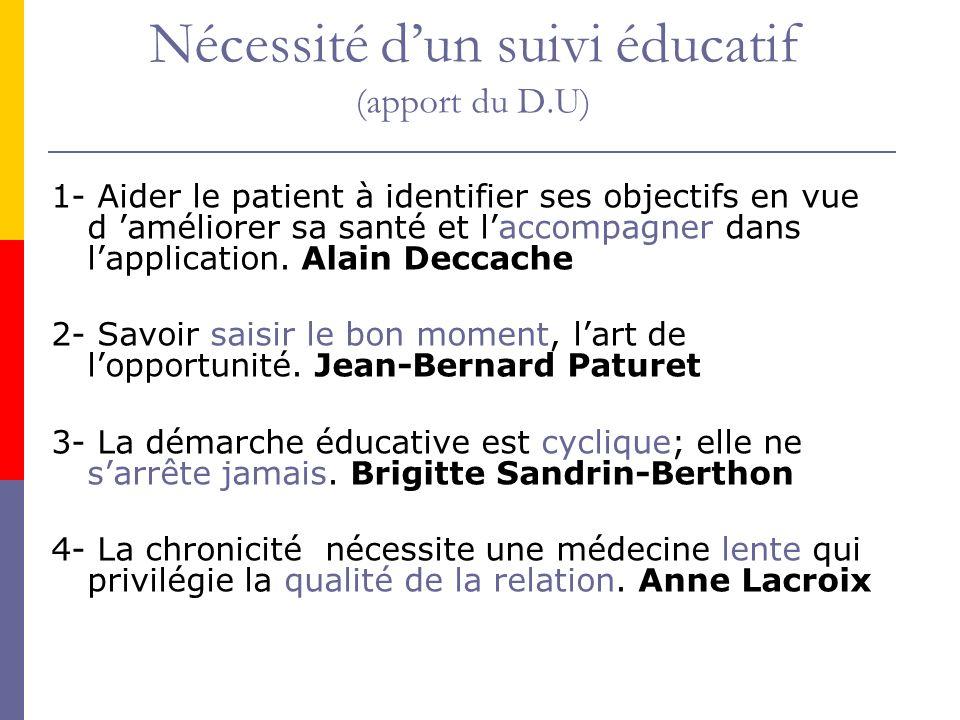 Nécessité dun suivi éducatif (apport du D.U) 1- Aider le patient à identifier ses objectifs en vue d améliorer sa santé et laccompagner dans lapplicat