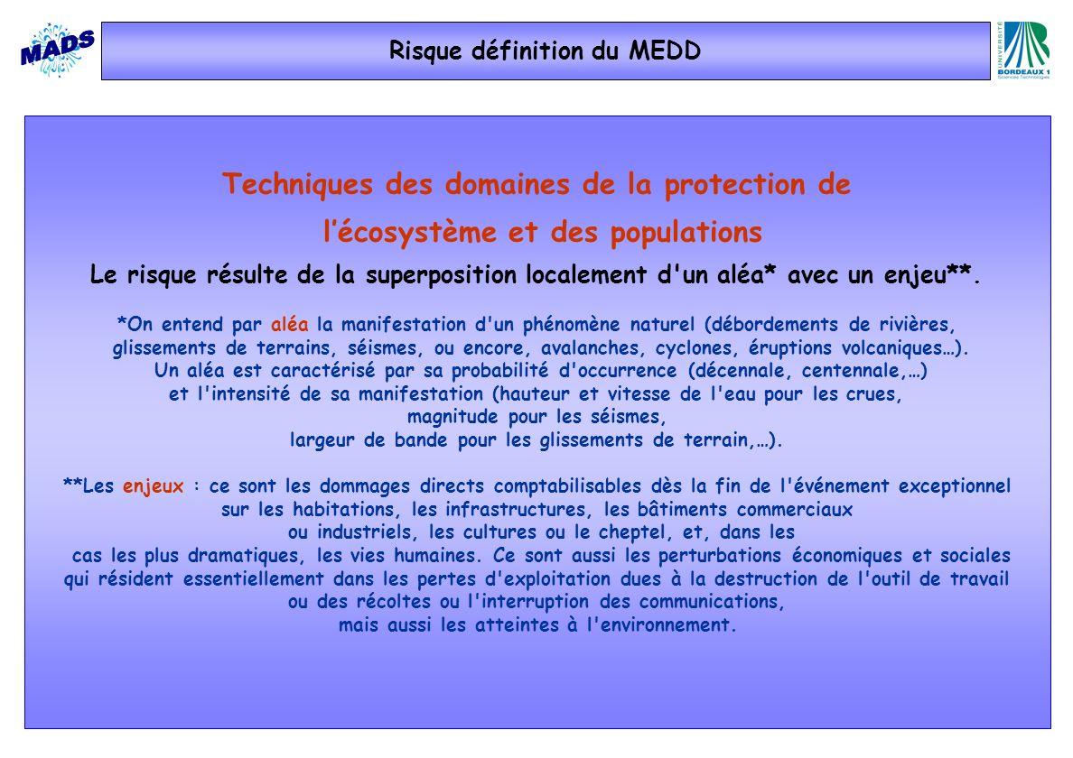 Risque définition du MEDD Techniques des domaines de la protection de lécosystème et des populations Le risque résulte de la superposition localement