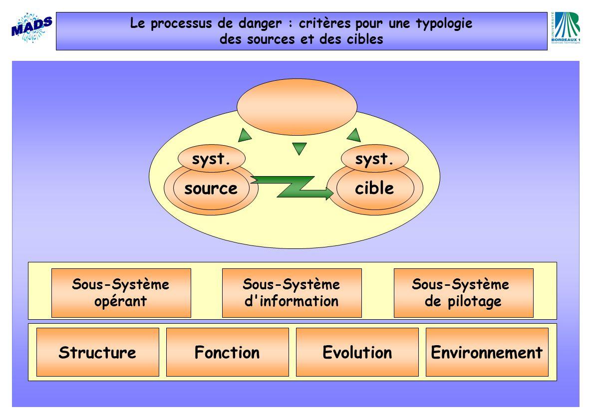 Sous-Système de pilotage Sous-Système opérant Sous-Système d'information sourcecible syst. FonctionEvolutionStructureEnvironnement Le processus de dan