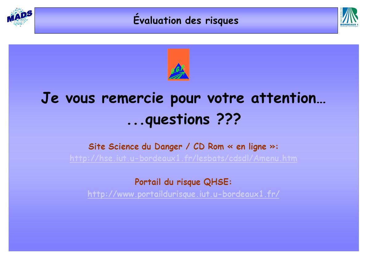 Je vous remercie pour votre attention…...questions ??? Site Science du Danger / CD Rom « en ligne »: http://hse.iut.u-bordeaux1.fr/lesbats/cdsdl/Amenu