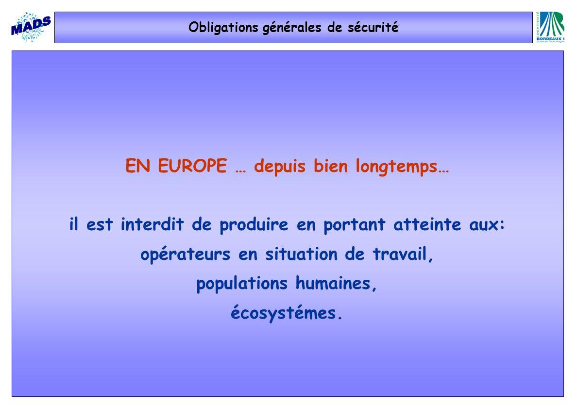 Obligations générales de sécurité EN EUROPE … depuis bien longtemps… il est interdit de produire en portant atteinte aux: opérateurs en situation de t