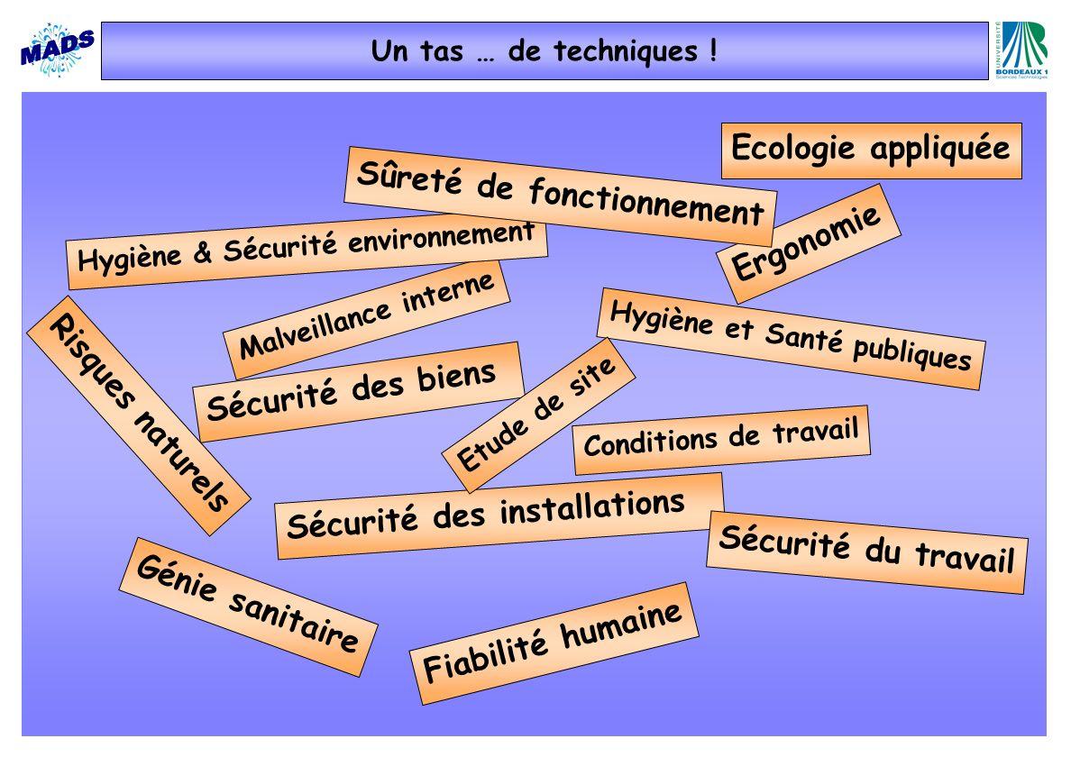 Malveillance interne Sécurité des installations Ergonomie Conditions de travail Hygiène et Santé publiques Génie sanitaire Fiabilité humaine Ecologie
