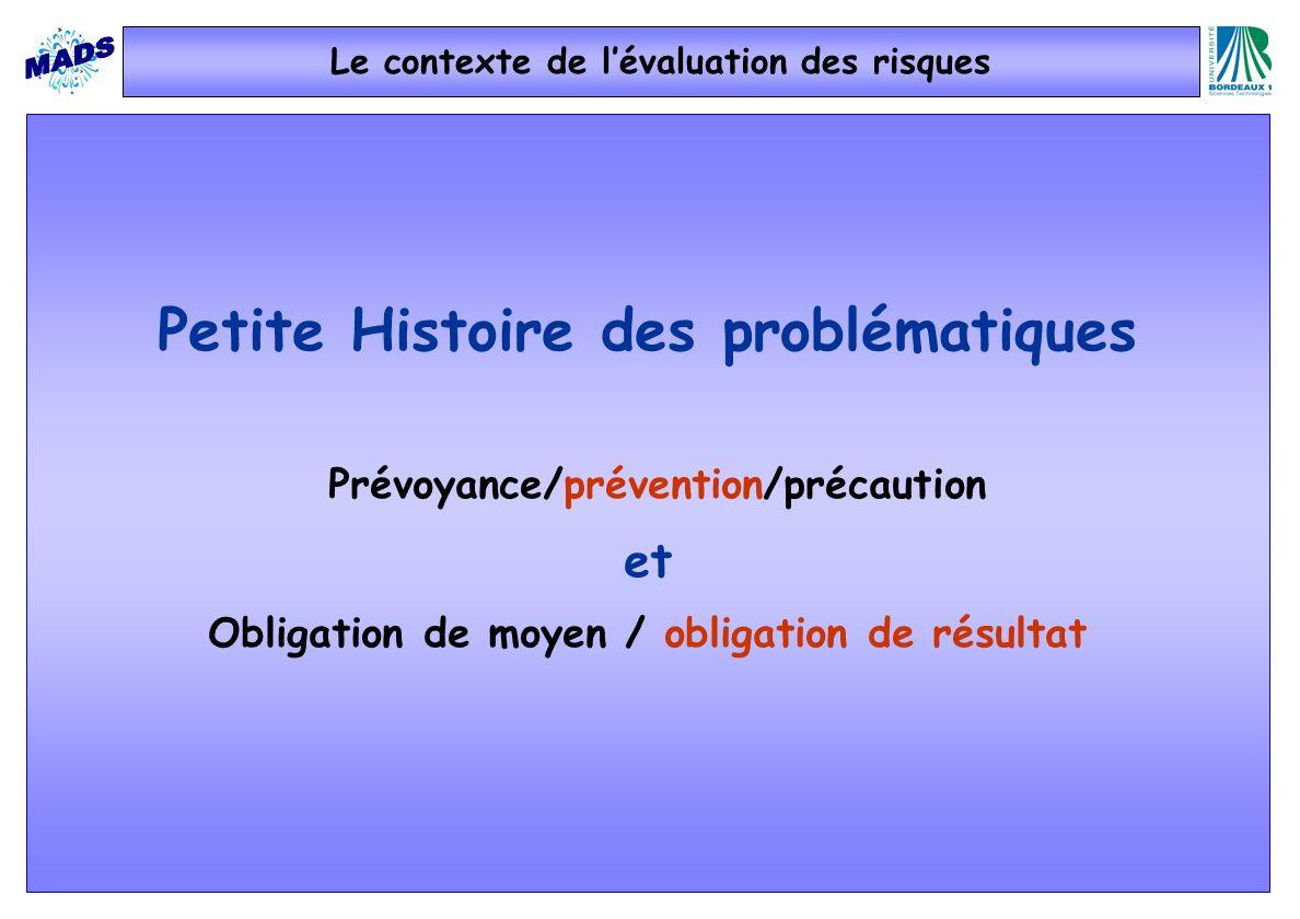 Le contexte de lévaluation des risques Petite Histoire des problématiques Prévoyance/prévention/précaution et Obligation de moyen / obligation de résu