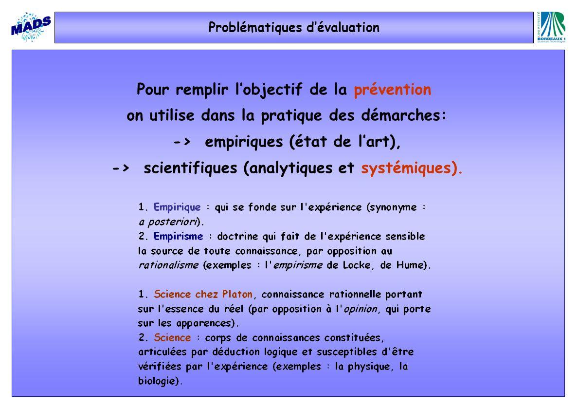 Problématiques dévaluation Pour remplir lobjectif de la prévention on utilise dans la pratique des démarches: -> empiriques (état de lart), -> scienti